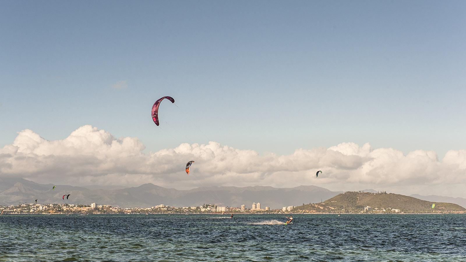 Kitesurfer am Weststrand des Îlot Maître. Foto: Hilke Maunder