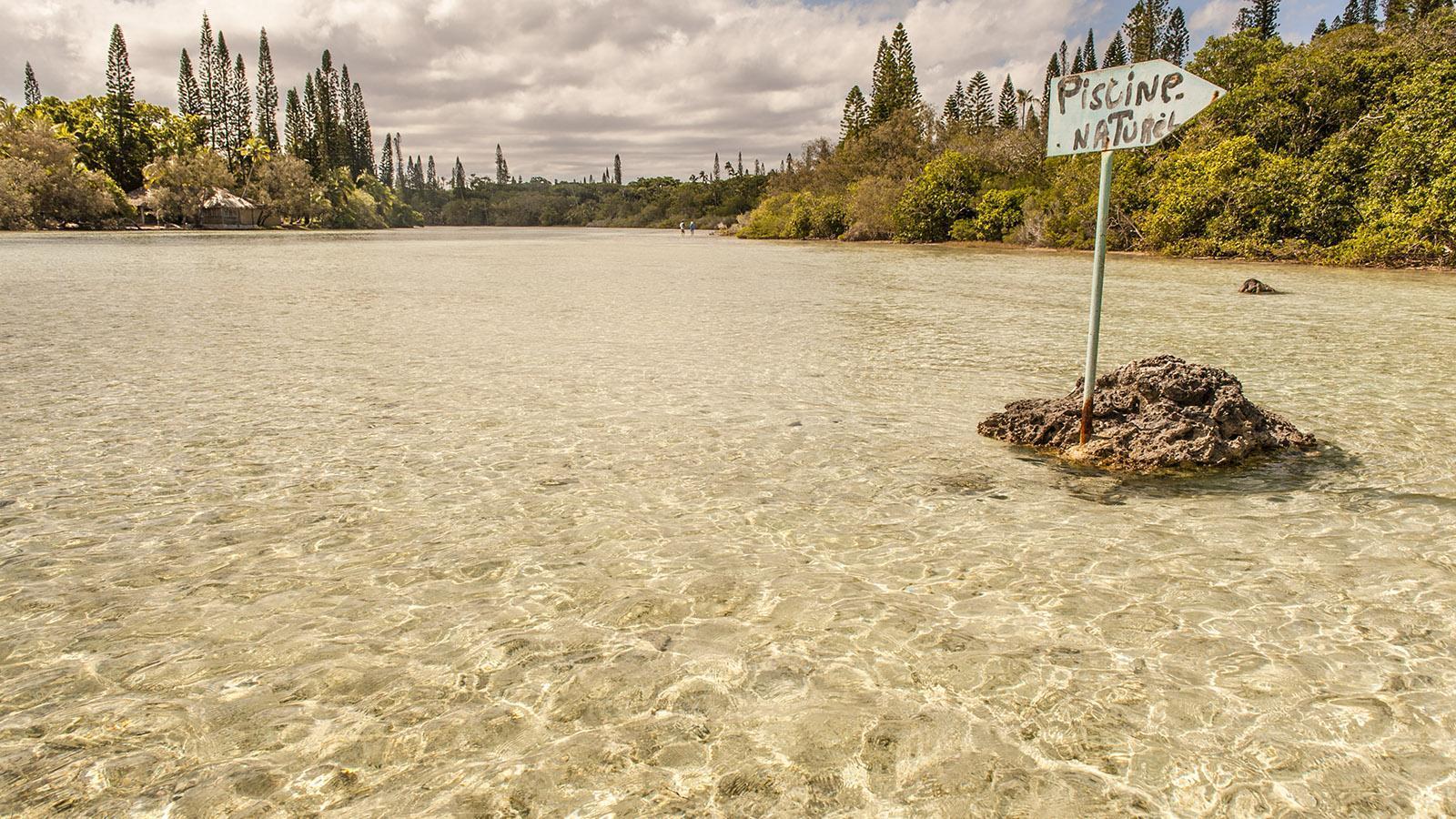 Durch flache Fluten zum Naturpool: Wandern auf der Île des Pins. Foto: Hilke Maunder