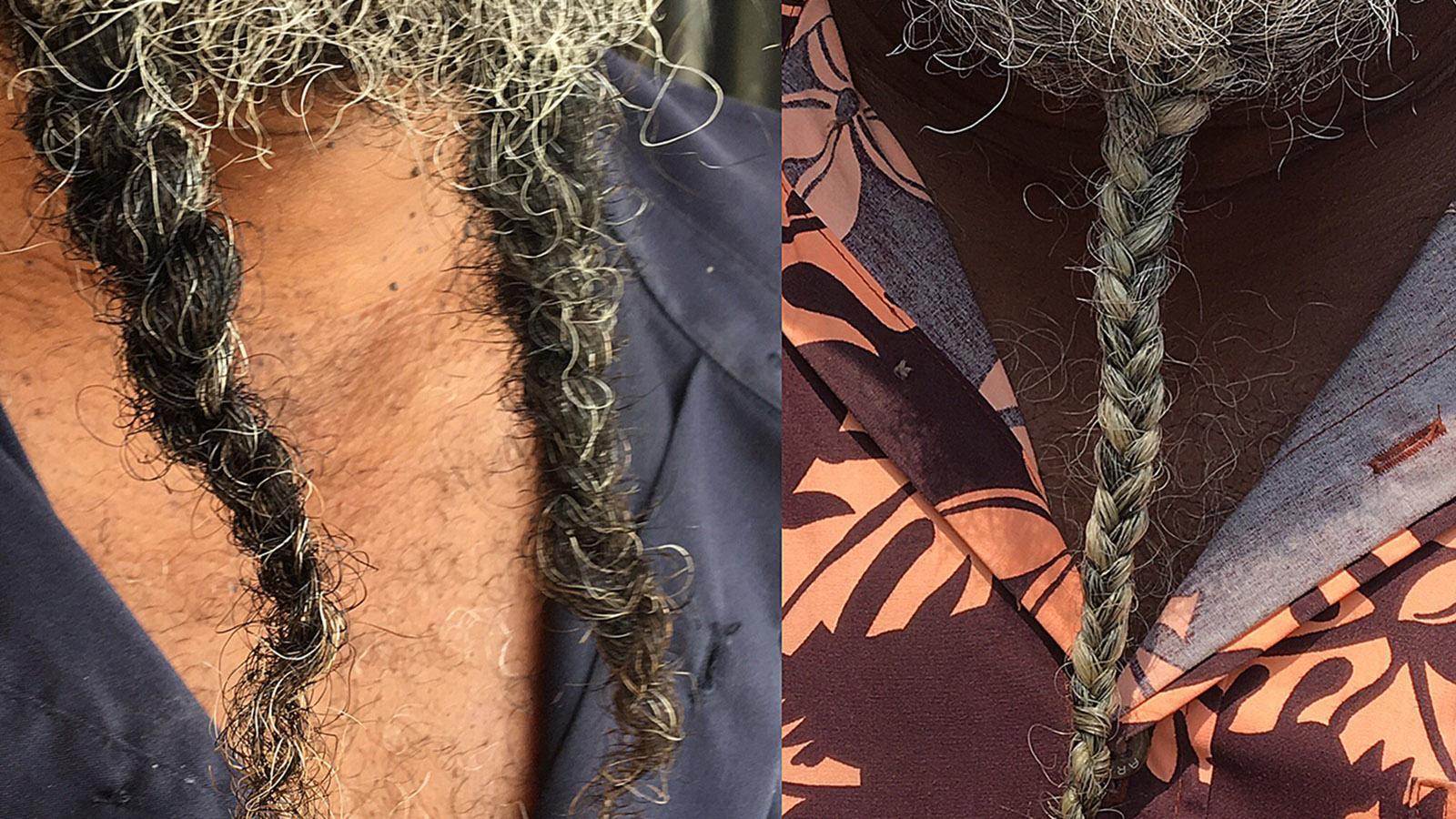 Auf Ouvéa dürfen die Männer ihre Bärte nicht schneiden. Daher zwirbeln oder flechten sie das Haar. Foto: Hilke Maunder