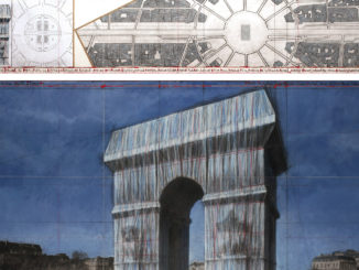 "Christo L'Arc de Triomphe, Wrapped (Project for Paris) Place de l'Etoile – Charles de Gaulle Drawing 2019 in two parts 15 x 96"" and 42 x 96"" (38 x 244 cm and 106.6 x 244 cm) Pencil, charcoal, pastel, wax crayon, enamel paint, architectural and topographic survey, hand-drawn map on vellum and tape Photo: André Grossmann © 2019 Christo"