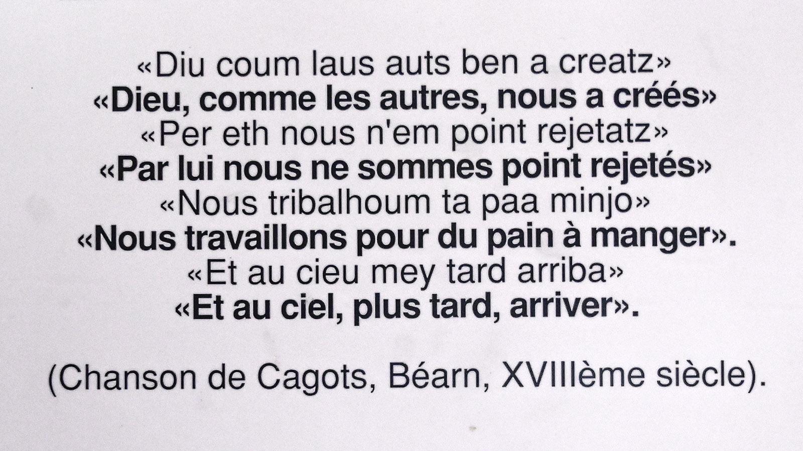 Lied der cagots, ausgestellt im musée des cagots in Arreau. Foto: Hilke Maunder