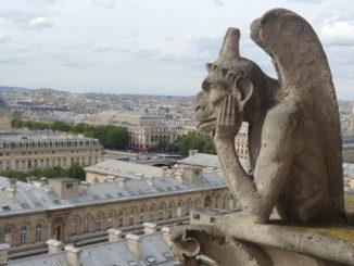 Nachdenklicher Wasserspeier auf dem Dach der Kathedrale Notre-Dame de Paris. Foto: Lara Maunder