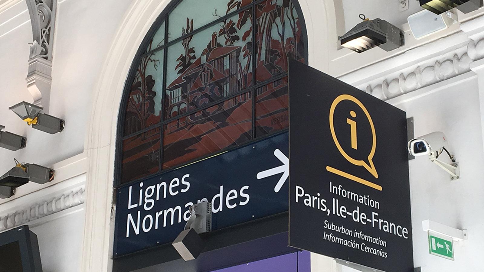 Der Pariser Bahnhof Gare Saint-Lazare ist der Bahnhof für die Linien in die Normandie - und den Eurostar nach London. Foto: Hilke Maunder