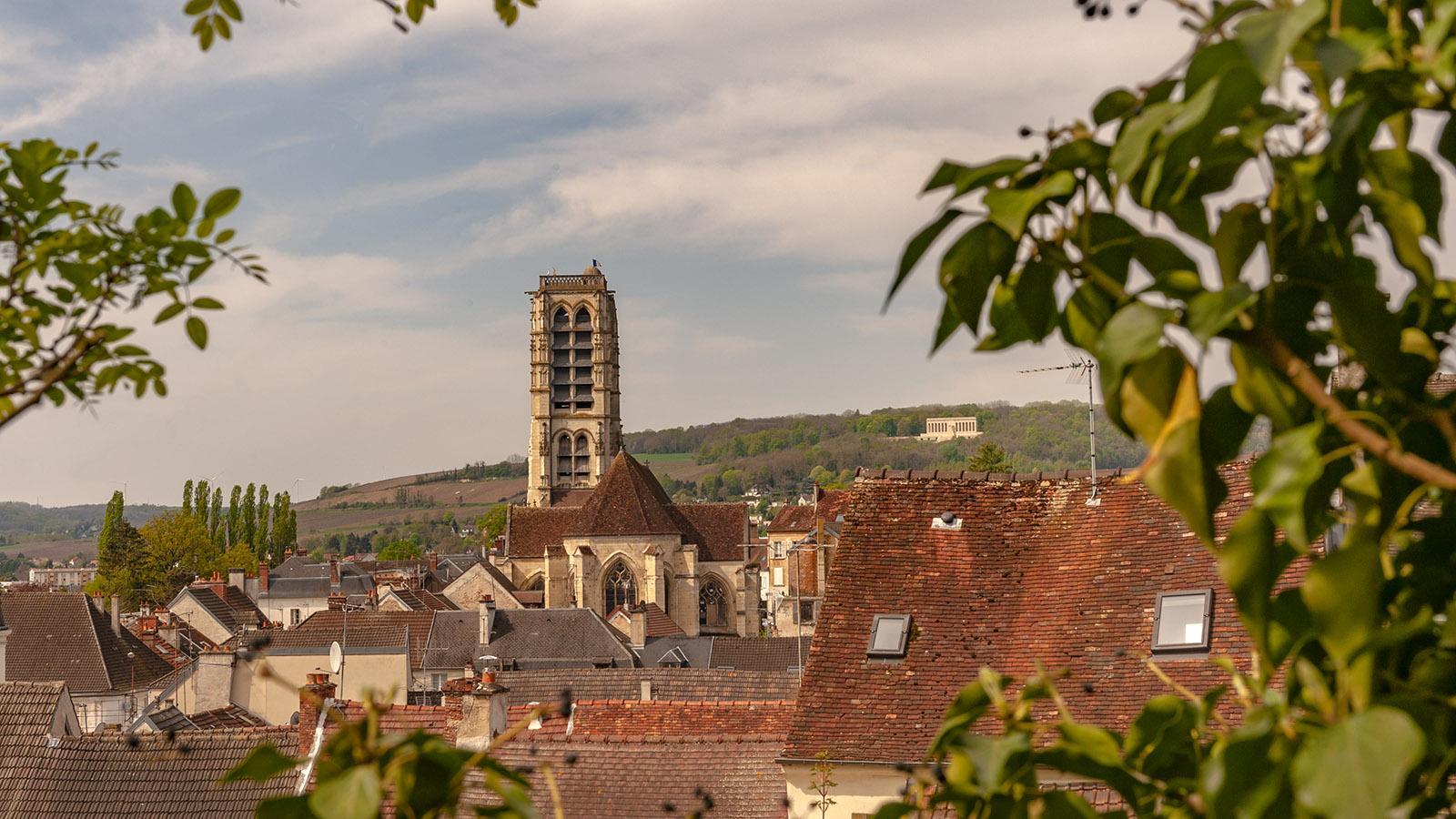 Château-Thierry: die Aussicht vom Burghügel. In der Ferne: das amerikanische Ehrenmal. Foto: Hilke Maunder