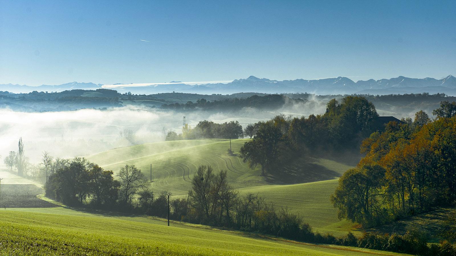 Diagonale du Vide: Im Gers grüßen die Pyrenäen. Foto: Hilke Maunder