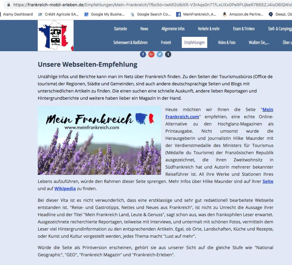 Frankreich mobil erleben empfliehlt meinen Blog MeinFrankreich.com