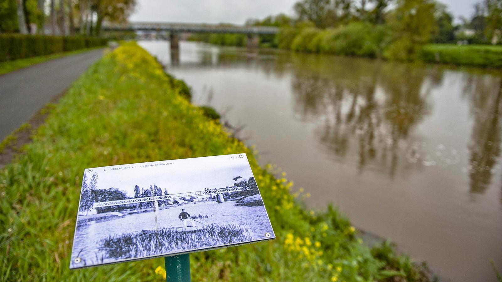Messac: Am Ufer der Vilaine erinnert Schautafeln an die große Zeit der Binnenschifffahrt. Foto: Hilke Maunder