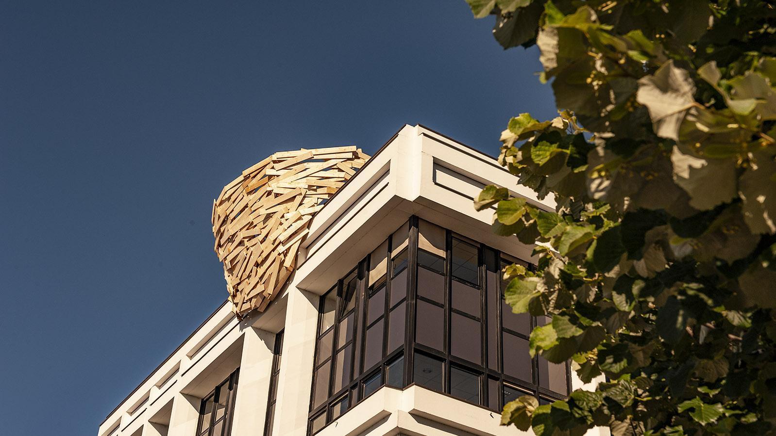 Gleich sieben Mal setzte Tadashi Kamawata Vogelnester in XXL in die Bäume und auf die Dächer von Nantes. Foto: Hilke Maunder