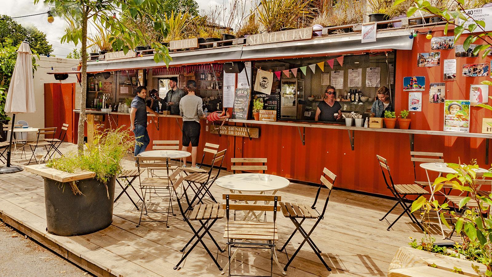 Voyage à Nantes: Freiluftbar 40 Pieds am Quai des Plantes. Foto: Hilke Maunder