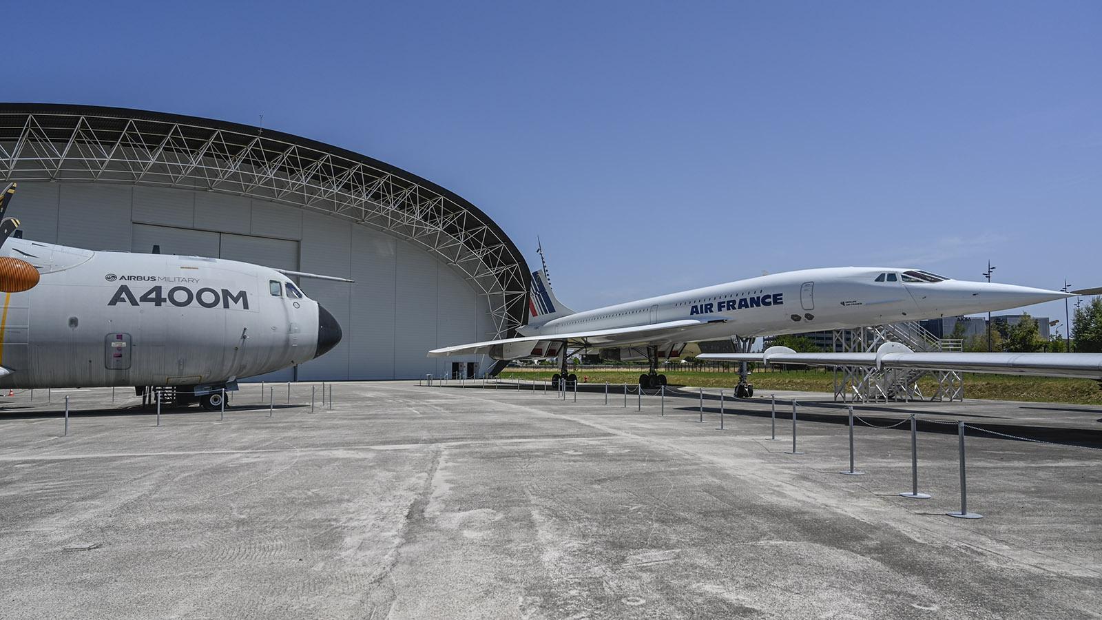 Aéroscopia: Die berühmte Concorde ist im Museum ebenso ausgestellt wie der Militärtransporter von Airbus Defence and Space A 400 M. Foto: Hilke MaunderH
