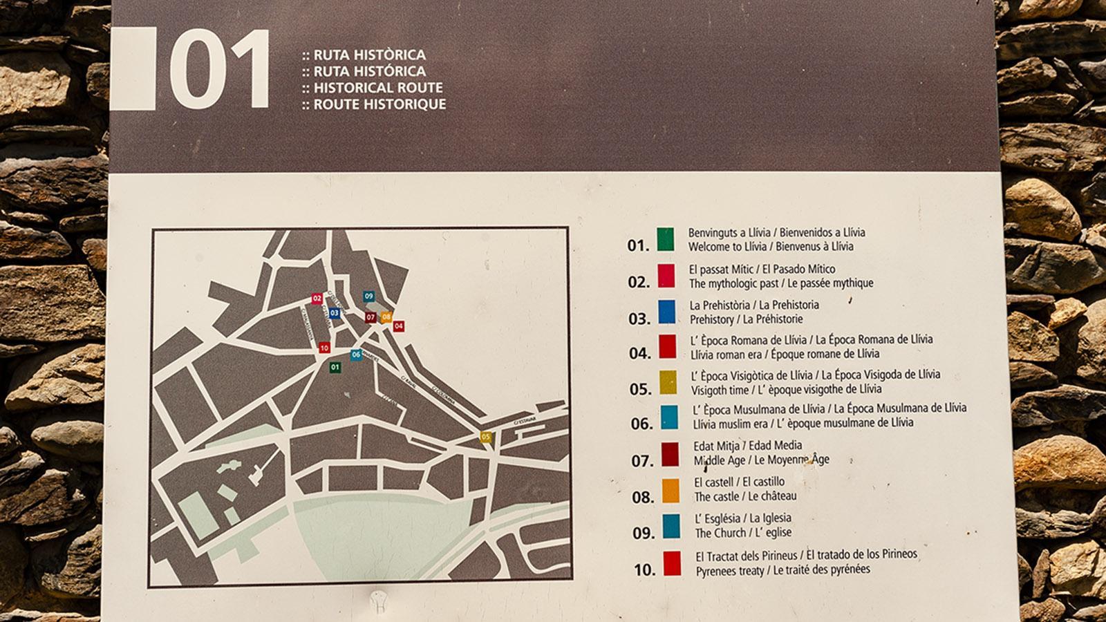 Llívia: markierter Rundweg zu den hisstorischen Stätten. Foto: Hilke Maunder