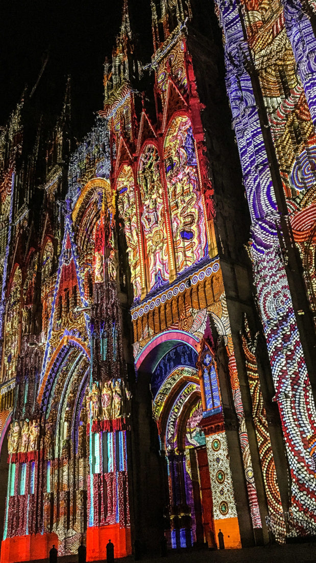 Seine-Comtesse-Kreuzfahrt. Rouen: Lichtershow auf der Kathedrale. Foto: Hilke Maunder
