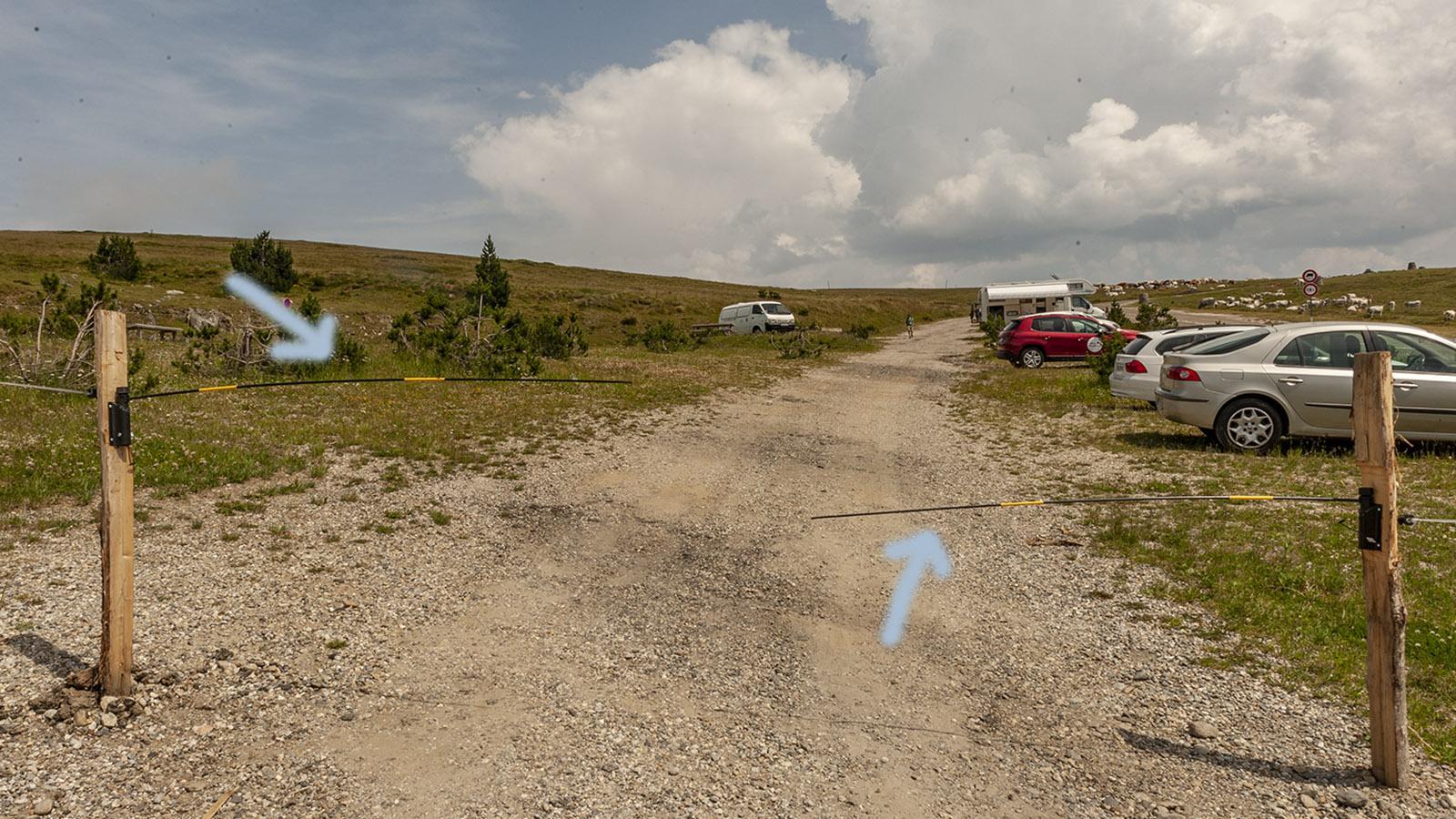 Col de Pailheres: Zufahrt zum Parkplatz. Foto: Hilke Maunder