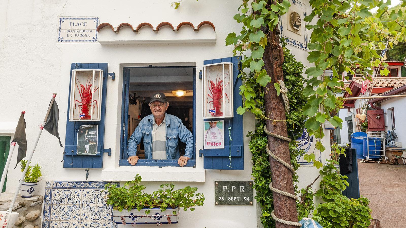 """Port-Vieux von Biarritz: Glücklich in seiner """"crampotte"""" – François Doyhamboure. Foto: Hilke Maunder"""