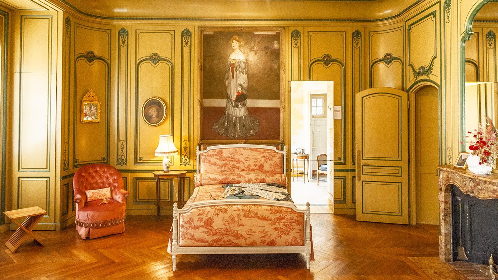 Vila Arnaga: das Schlafzimmer von Rosemonde. Foto: Hilke Maunder