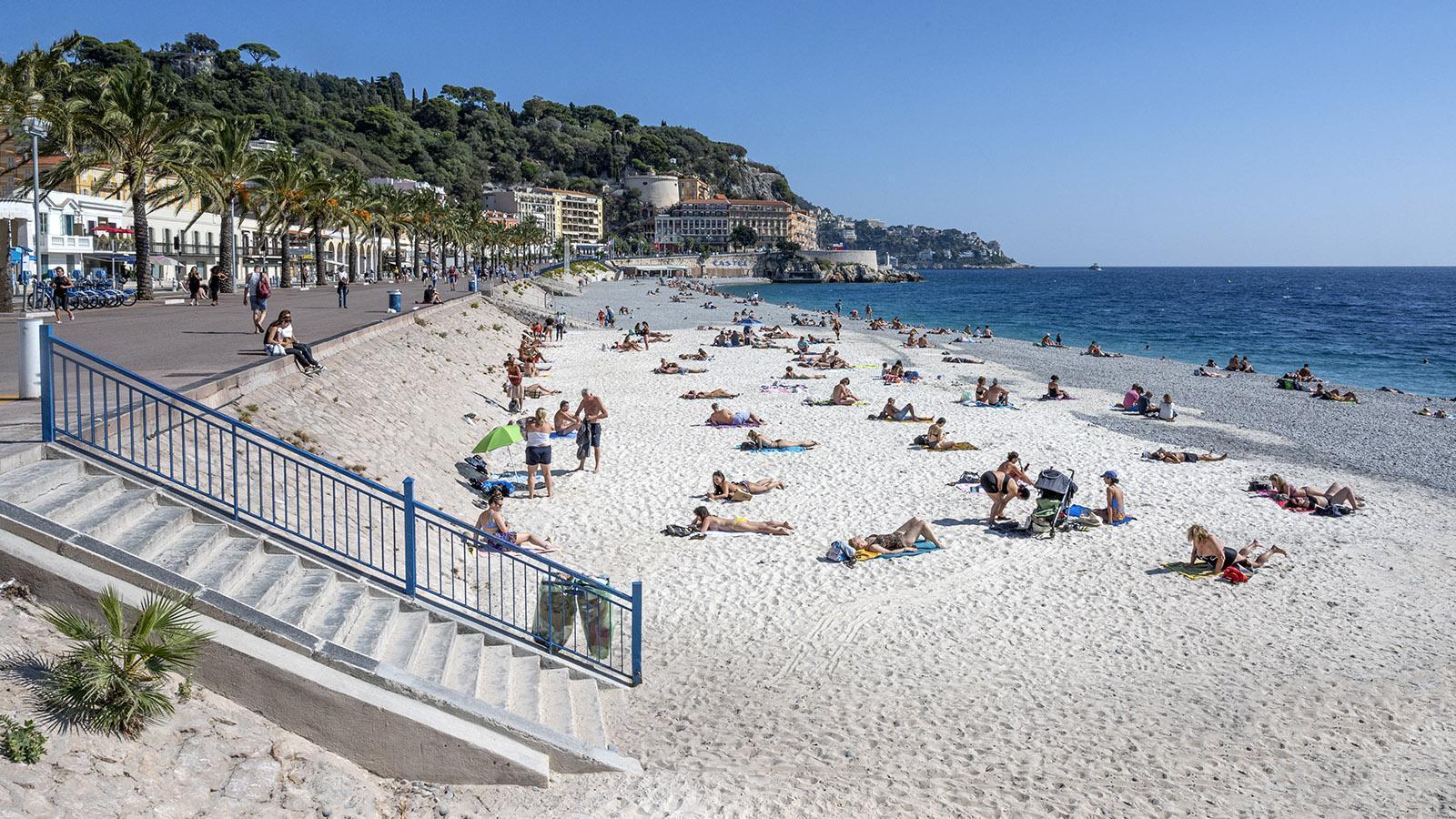 Herbst am Strand von Nizza. Foto: Hilke Maunder