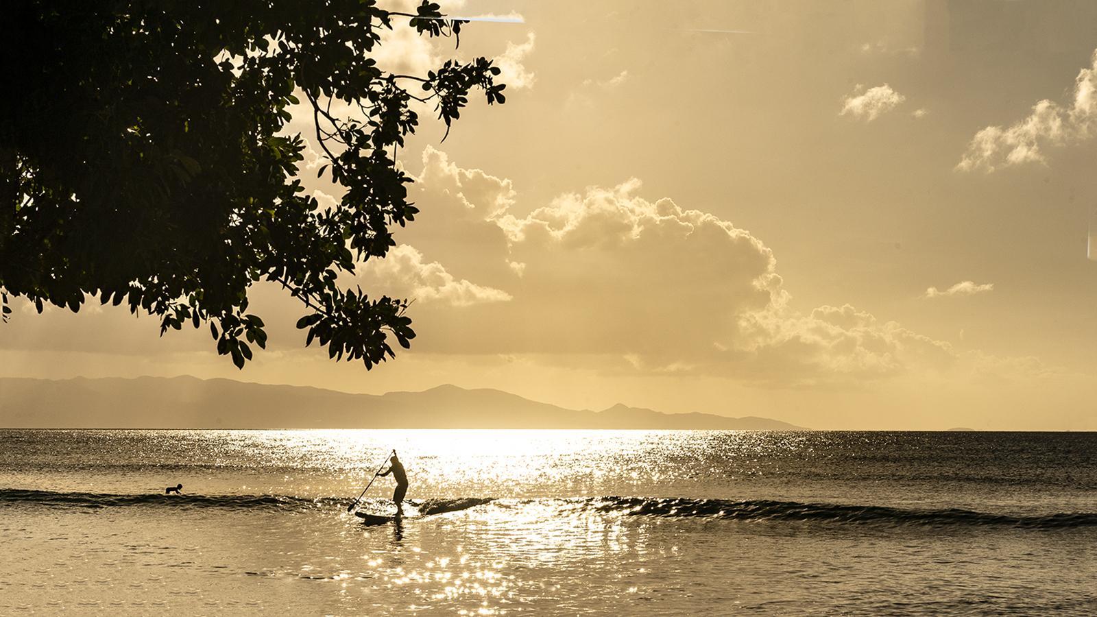 Guadeloupe: Surfen zum Sonnenuntergang - an der Nordwestküste von Grande-Terre ein unvergessliches Erlebnis. Foto: Hilke Maunder