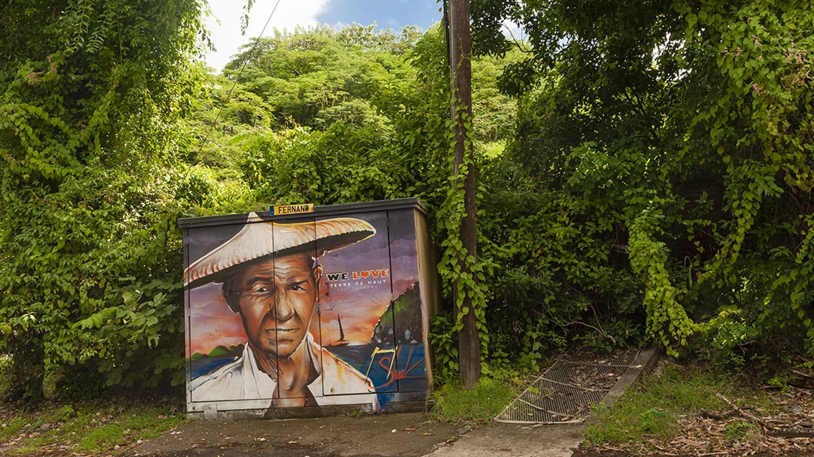 Les Saintes: Street Art mit Salako - auf einem Stromkasten der Terre-de-Haut. Foto: Hilke Maunder