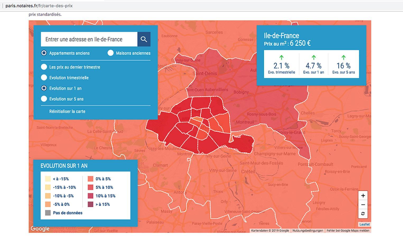 Banlieue de Paris: Übersicht der Notarkammer Paris über die Entwicklung von Immobilienpreisen. Foto: Hilke Maunder