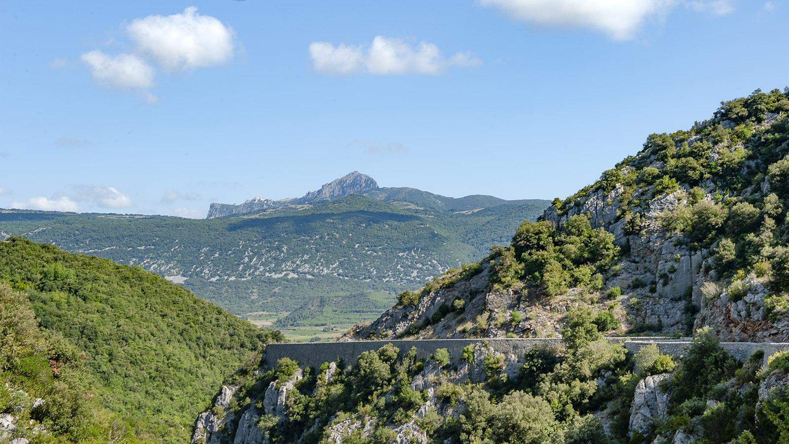 Gorges Saint-Jaume. Blick über die Schlucht auf den Pech de Bugarach. Foto: Hilke Maunder