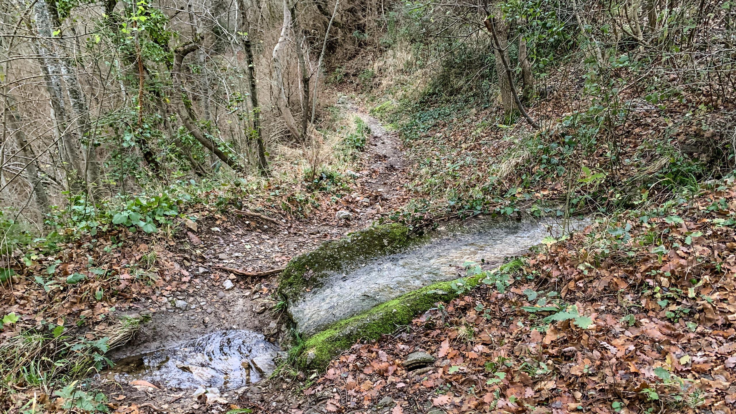 Gorges de Saint-Jaume: Wasserleitung kreuzen den Wanderweg. Foto: Hilke Maunder