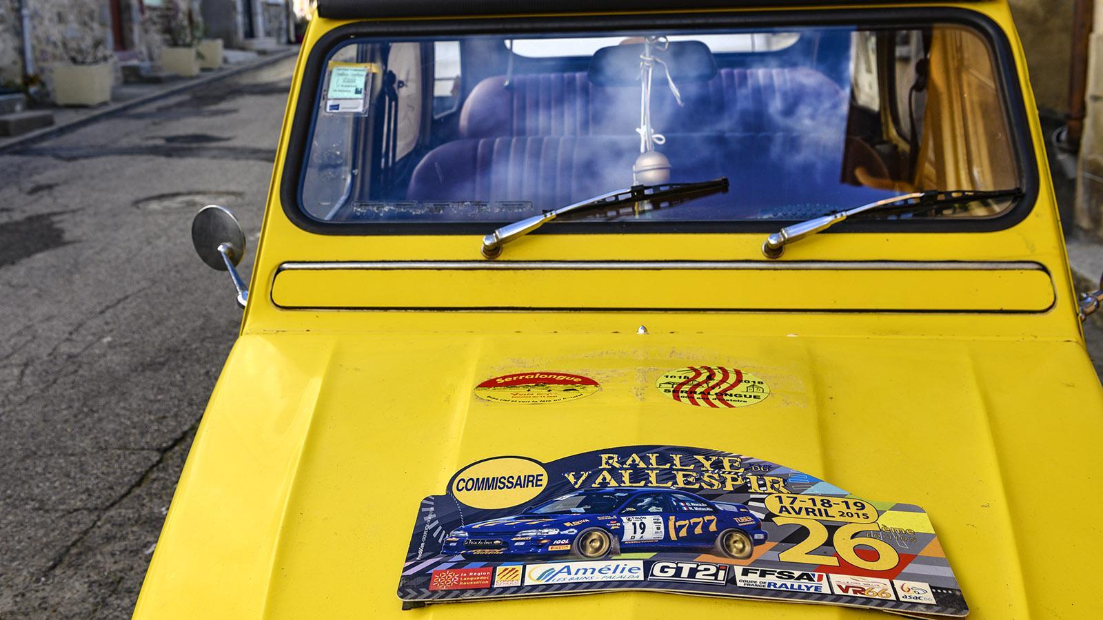 Serralongue. Das Dorf ist eine Etappe der Rallye durch den Vallespir.