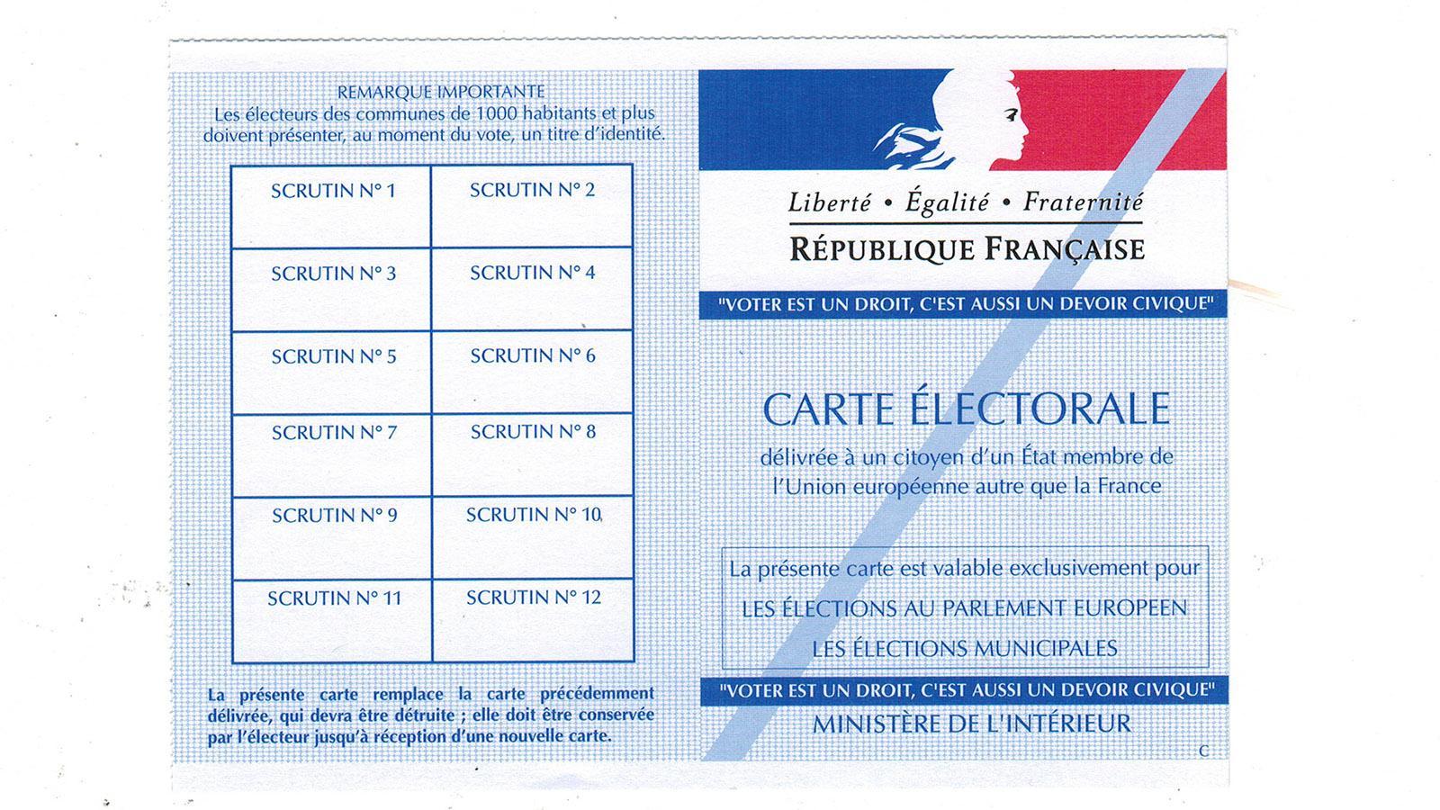 Municipales: Eure Wahlkarte als EU-BürgerIn. Foto: Hilke Maunder
