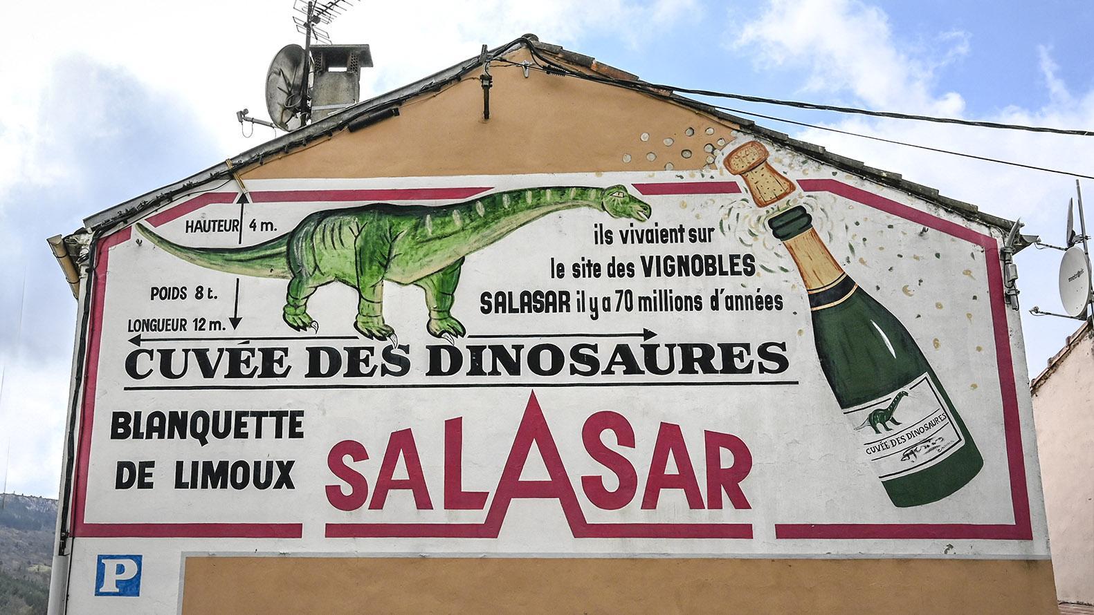 Campagne-sur-Aude: Auch eine örtliche Blanquette-Kellerei wirbt mit dem Erbe der Dinos. Foto: Hilke Maunder