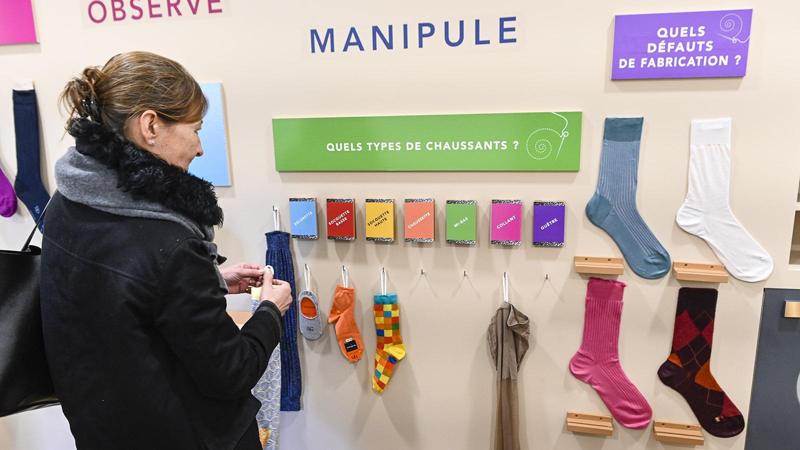 Troyes: Im Musée de la Bonneterie lernen Kinder hands-on neue Begriffe aus der Textilwelt. Foto: Hilke Maunder