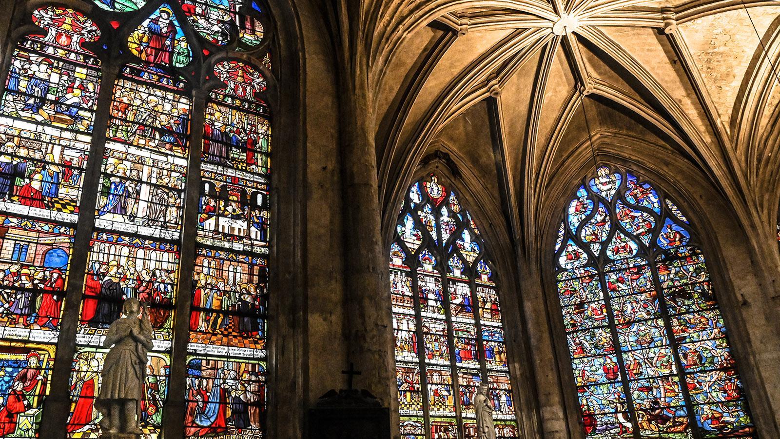 Troyes: die Glasfenster der Sainte-Madeleine-Kirche. Foto: Hilke Maunder