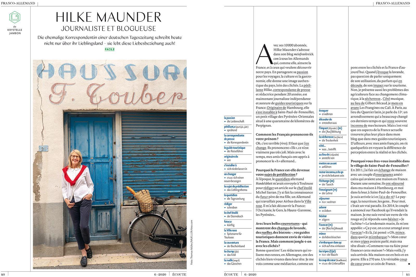 Hilke Maunder im Sprachmagazin écoute Heft 6/2020