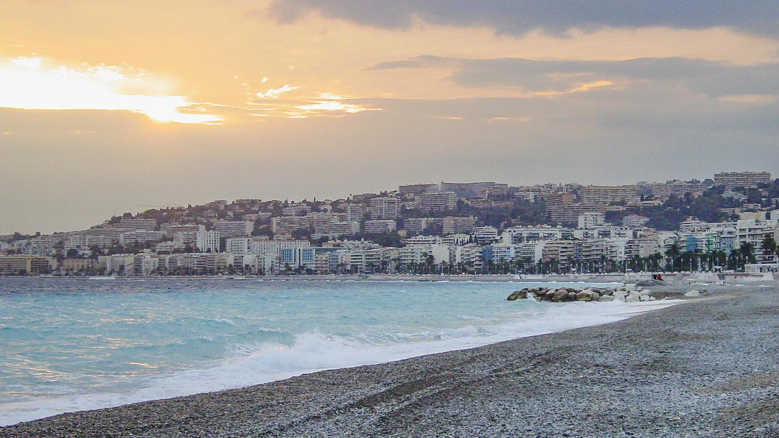 Abenddämmerung am Strand, Blick gen Westen. Foto: Hilke Maunder