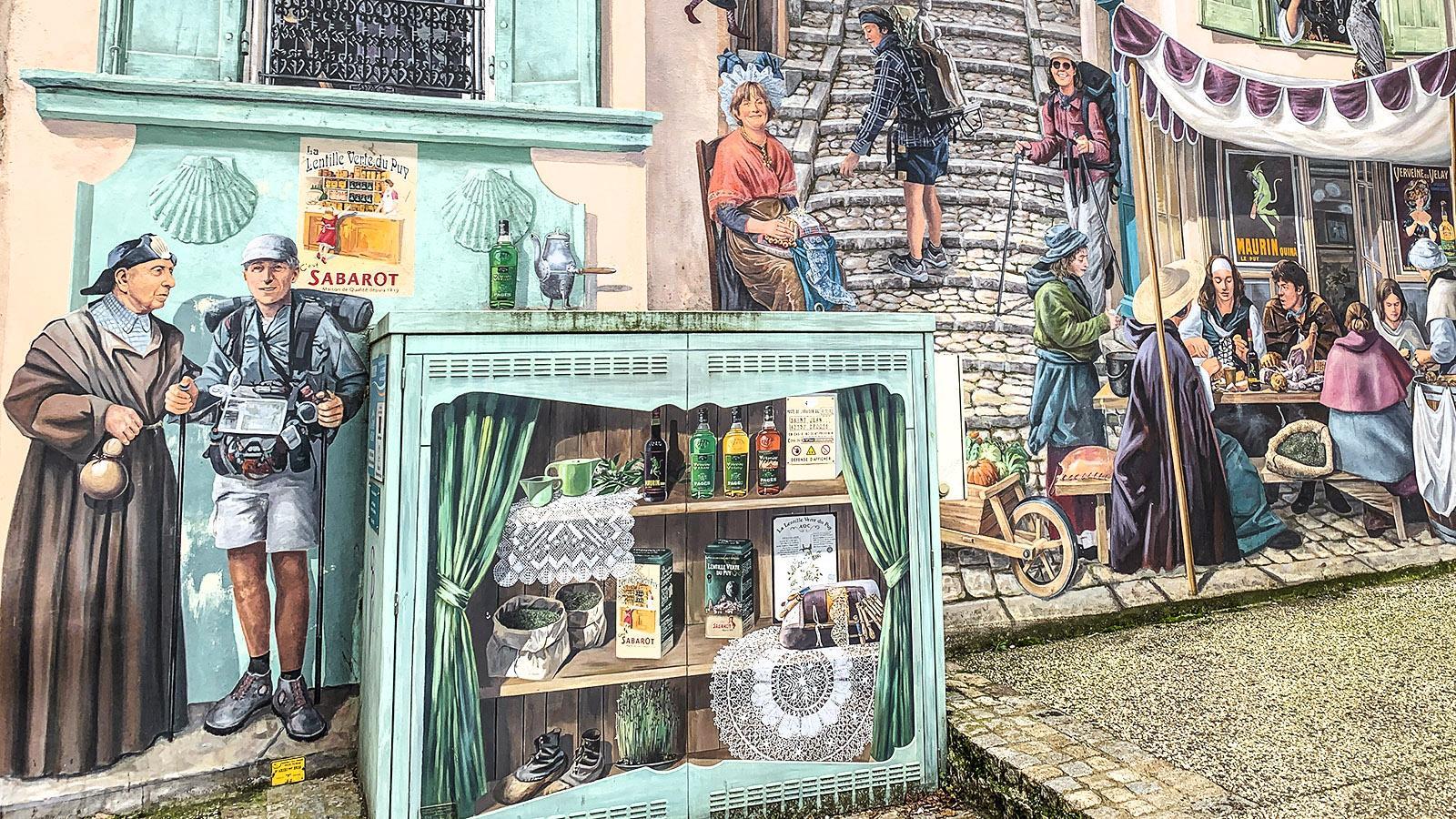 """Le Puy-en-Velay: Detail des Wandbildes """"Renaissance"""" von Patrick Commency. Foto: Hilke Maunder"""
