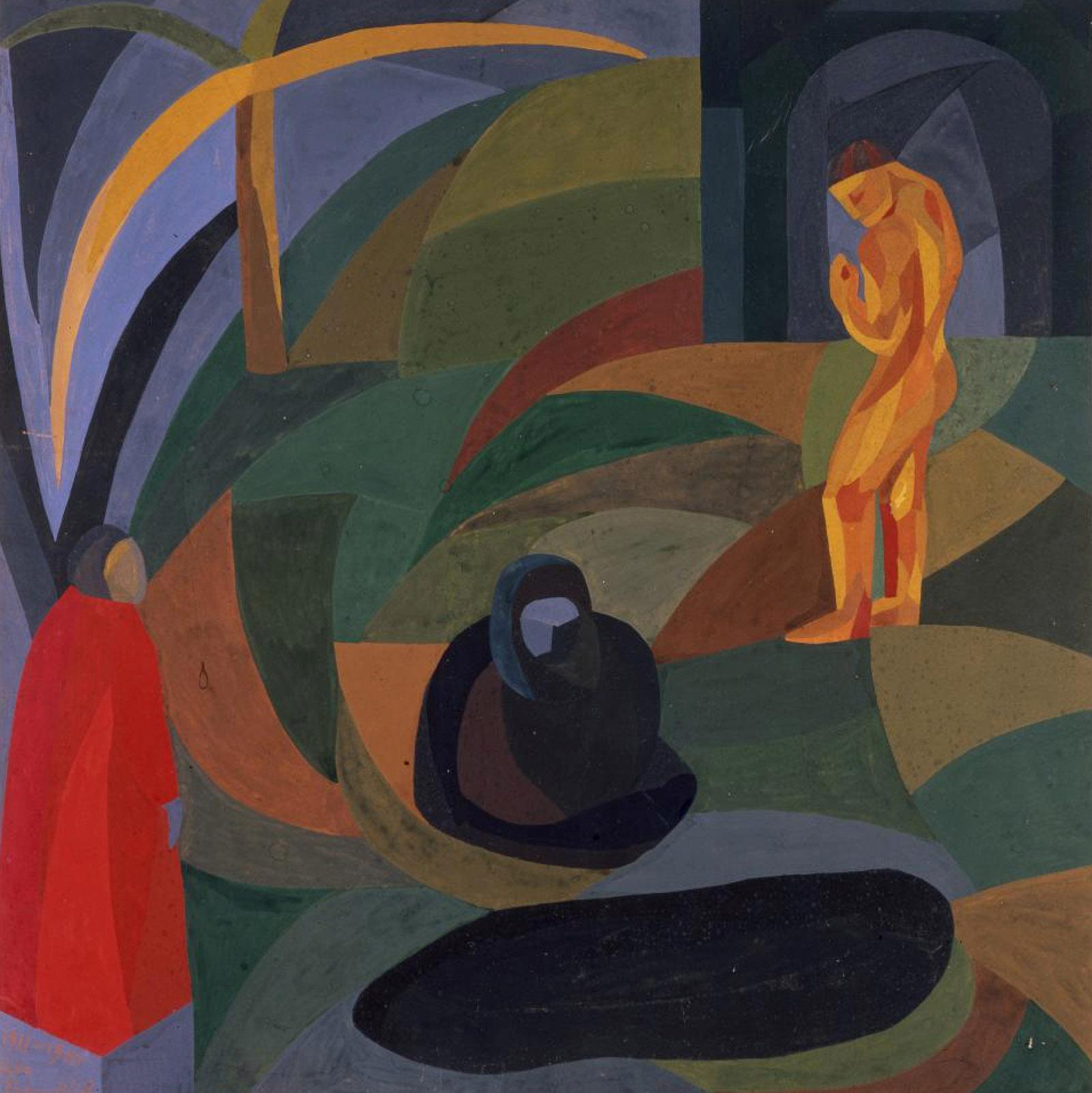 Otto Freundlich, Composition avec trois figures, 1911/1941 Gouache sur carton, 50 x 50 cm, Musée de Pontoise, Donation Freundlich © Musée de Pontoise