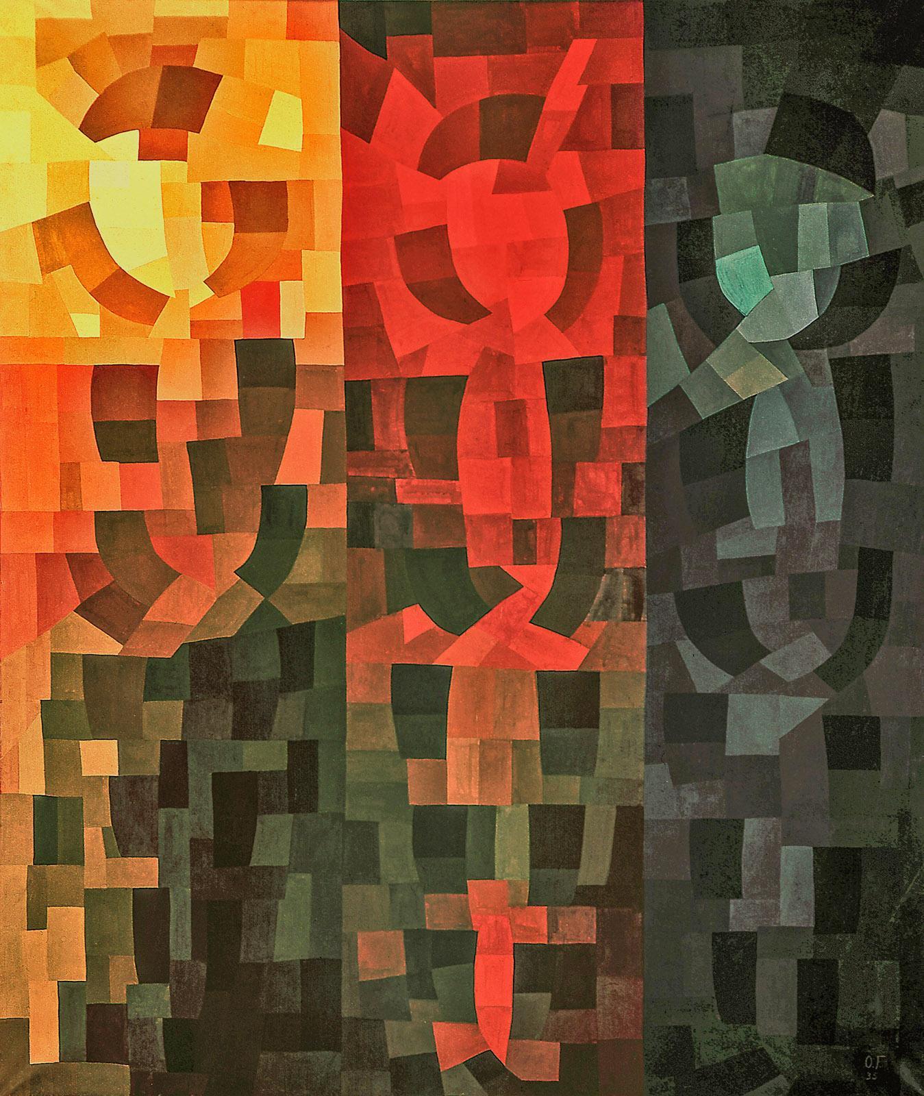 Hommage aux peuples de couleur, 1938, Triptyque en mosaïque, 3 panneaux de 164,5 × 52,5 ; 164,5 × 44,5 ; 164,5 × 42,5 Musée de Pontoise, Donation Freundlich © Musée de Pontoise