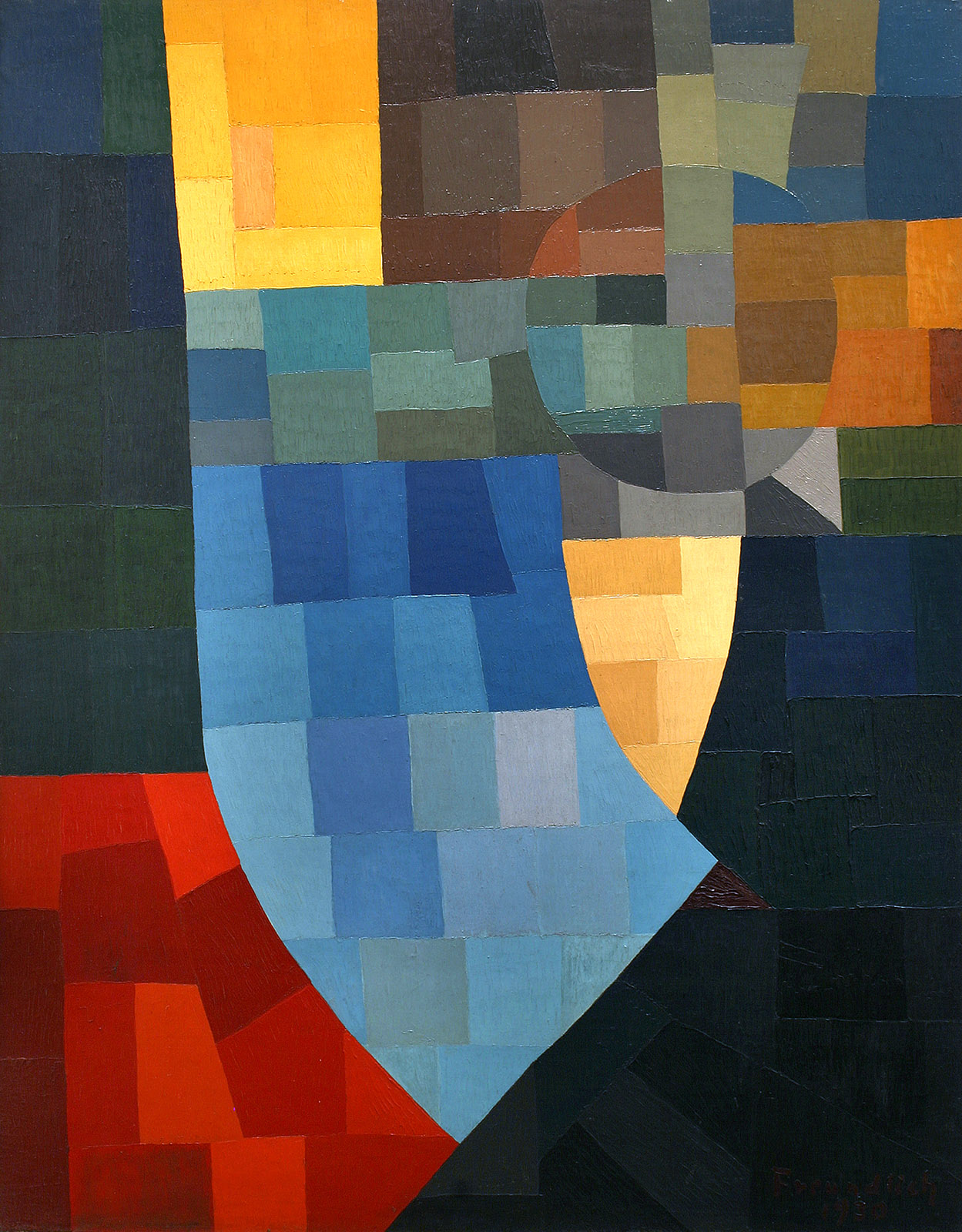 Otto Freundlich, Composition, 1930 Huile sur toile marouflée sur contreplaqué, 147 x 113 cm Musée de Pontoise, Donation Freundlich © Musée de Pontoise