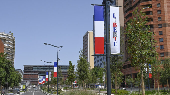 Toulouse: Flaggenschmuck zum 14. Juli auf der Allée Jean Jaurès. Foto: Hilke Maunder
