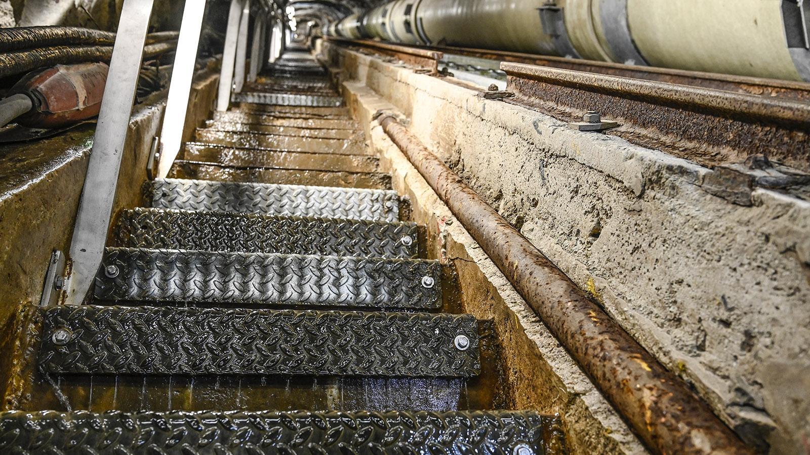 Die Wasserleistung des Artouste-Kraftwerks am Stausee Lac d'Artouste. Foto: Hilke Maunder