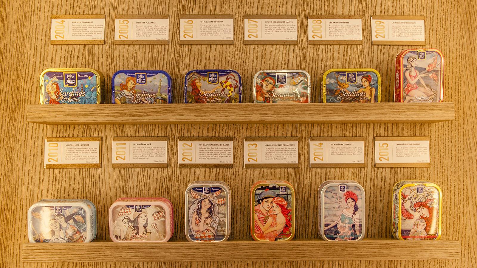 Sardine schön verziert: die Jahrgangseditionen. Foto: Hilke Maunder