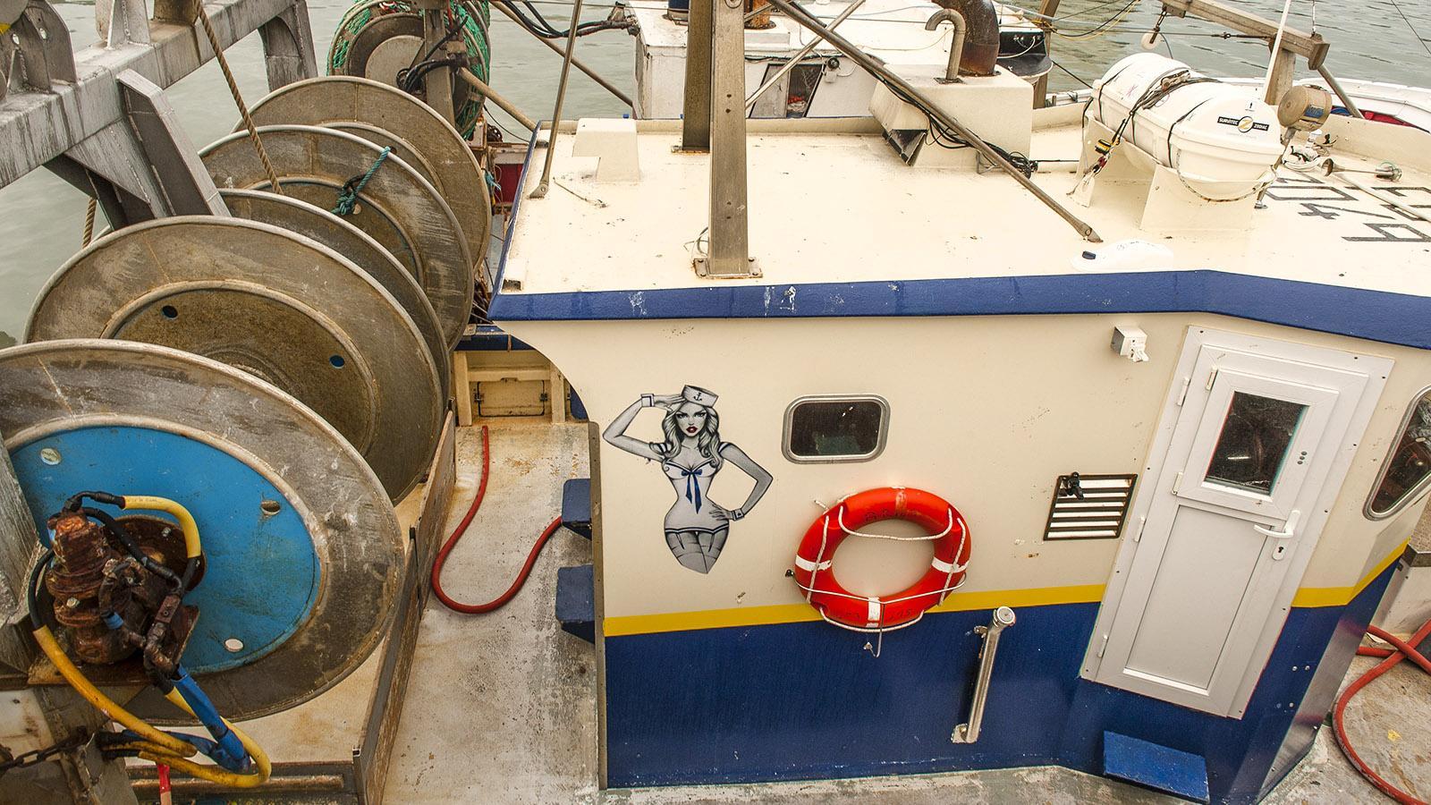 Sardine. Fischkutter im Hafen der Berufsfischer.