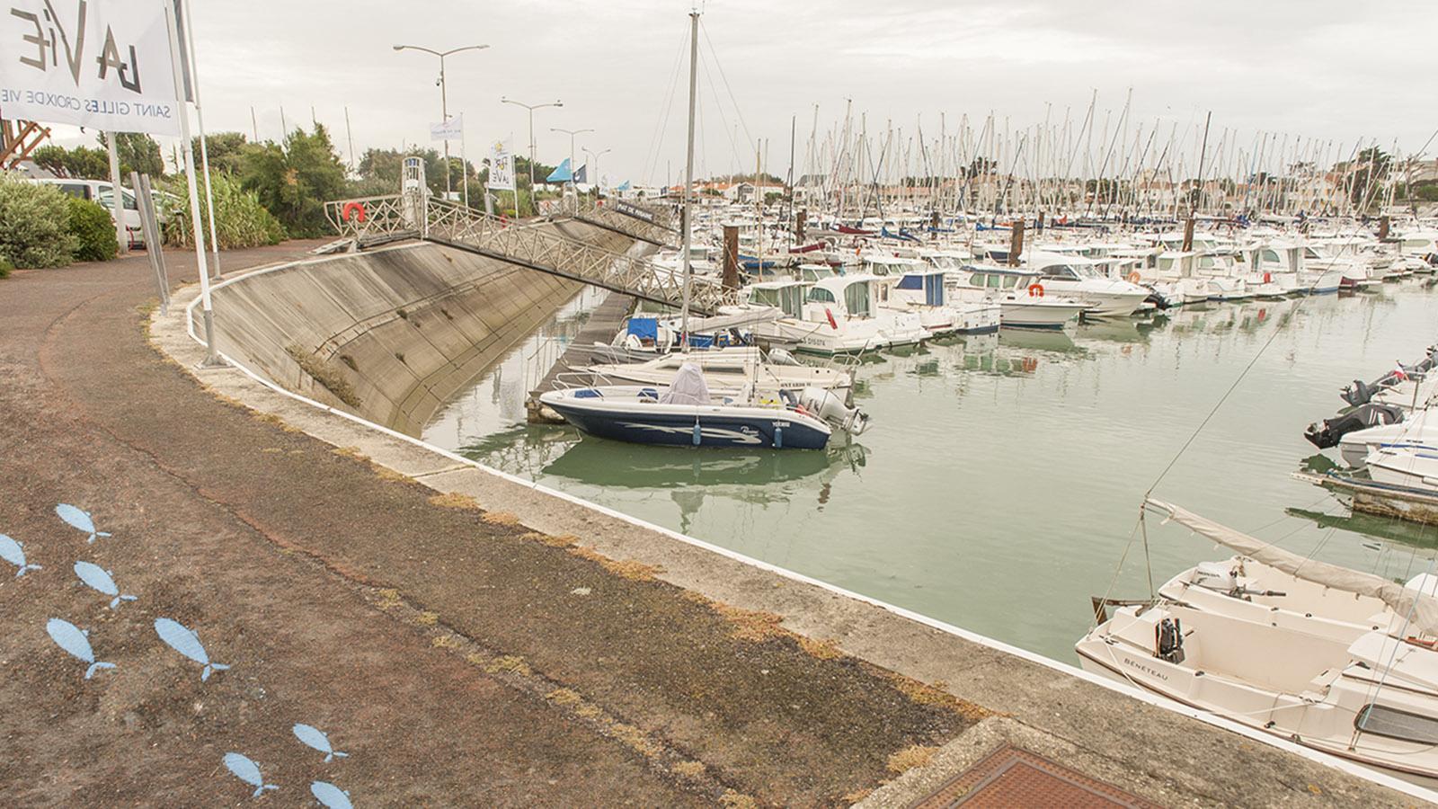 Der Stadtrundweg auf den Spuren der Sardine führt auch am Sportboothafen vorbei. Foto: Hilke Maunder