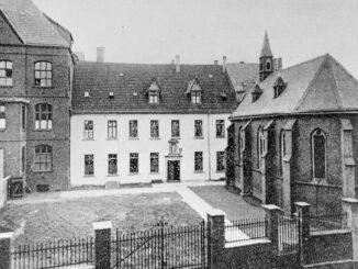 Das ehemaligen Marienhospital an der Nassauer Straße, um 1900. Das weiße Gebäude in der Mitte ist der ursprüngliche Nassauer Hof. Foto: © Stadtarchiv Hamm.