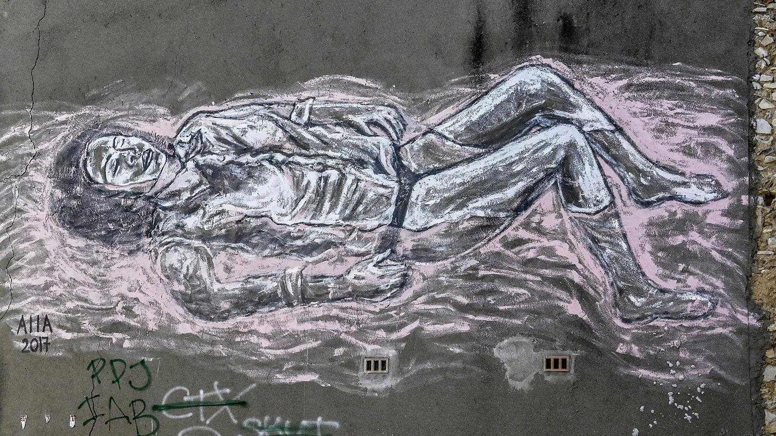 Street Art Nîmes, Richelieu: Liegende Frau, AIIA. Foto: Hilke Maunder
