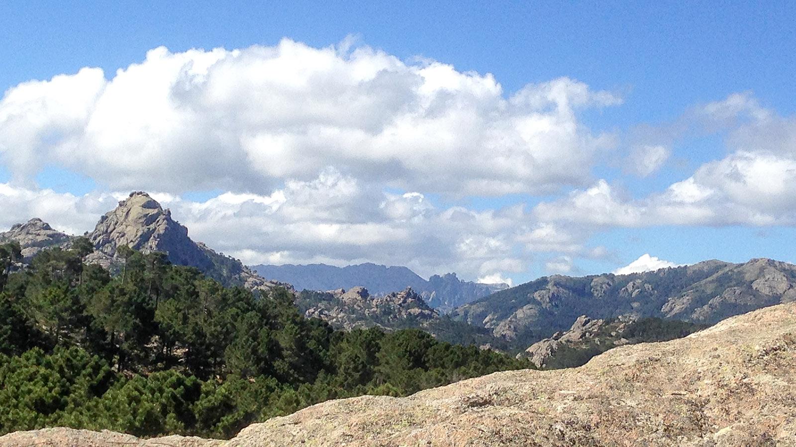 L'Hospedale Das Bavella-Massiv der Alta Rocca grüßt in der Ferne. Foto: Hilke Maunder
