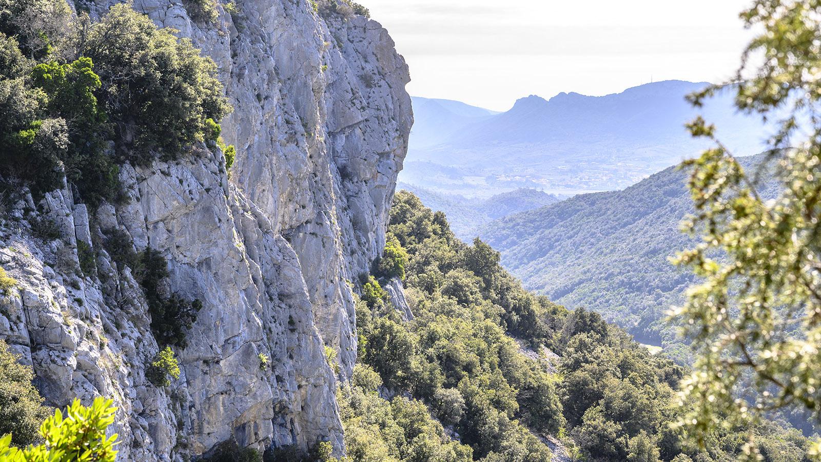 Der Blick ins Tal des Agly Richtung Maury. Hinter den steilen Felswände liegt der südliche Eingang der Gorges de Galamus. Foto: Hilke Maunder