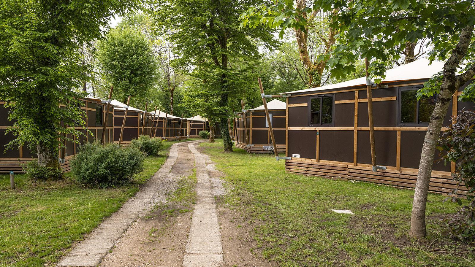 Huttopia Beaulieu: Toile-Bois-Zelte. Foto: Hilke Maunder