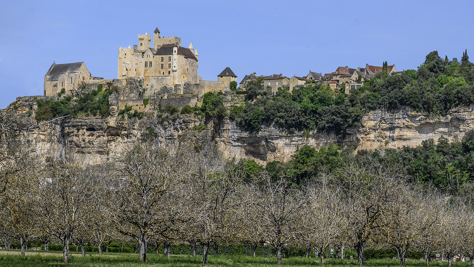 Beynac mit seiner Burg - hoch auf einer Kalklippe über den Nusshainen auf dem Schwemmland der Dordogne. Foto: Hilke Maunder