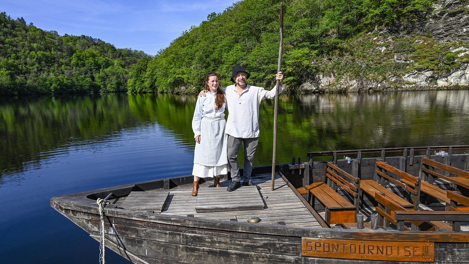 Marion Lassaigne und Ugo Broussot an Bord einer Garbarre. Foto: Hilke Maunder