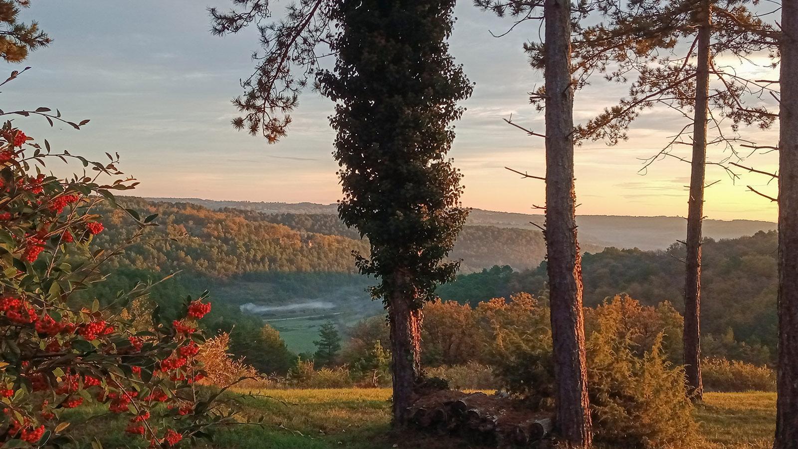 Die Aussicht von meinem Garten im Périgord, Dordogne. Foto: Brigitte Schmidt.