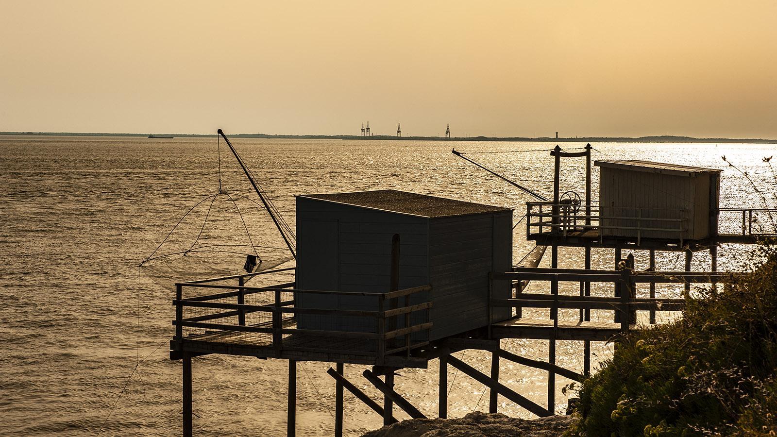 Die Fischerhütten von Meschers-sur-Gironde am frühen Abend. Foto: Hilke Maunder